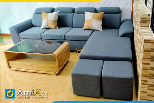sofa góc nỉ thô đẹp hiện đại AmiA326
