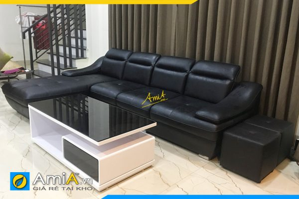 sofa góc da hiện đại