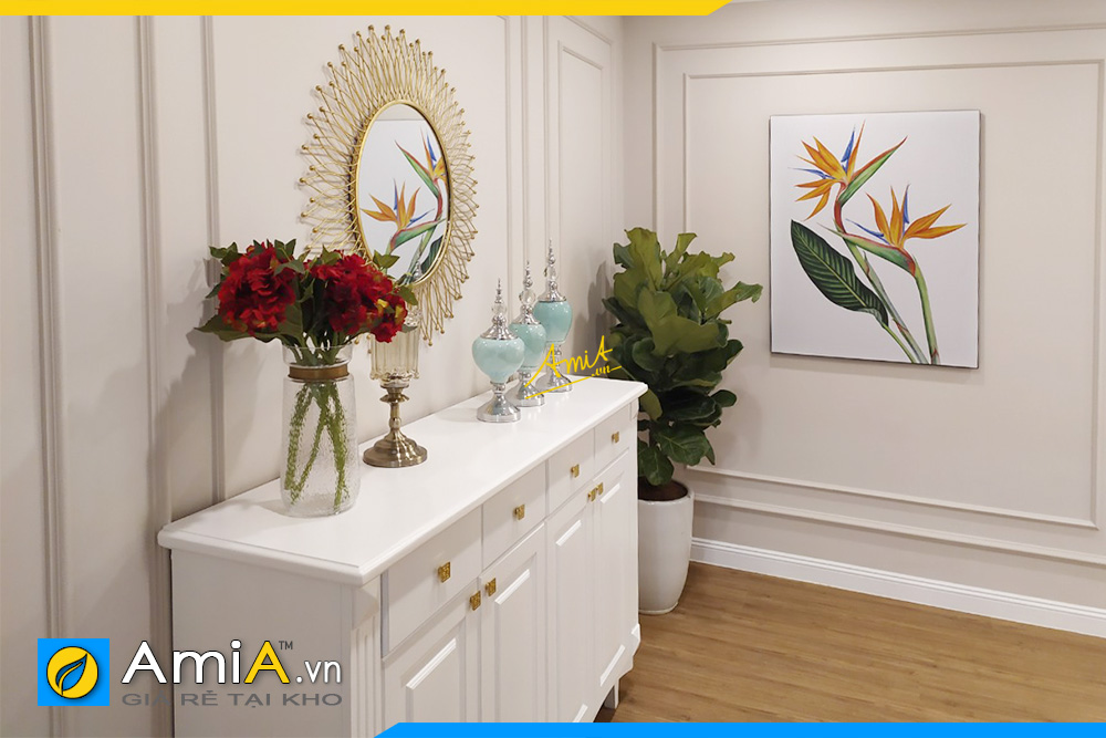Hình ảnh Tranh hoa đẹp trang trí tường hành lang khách sạn
