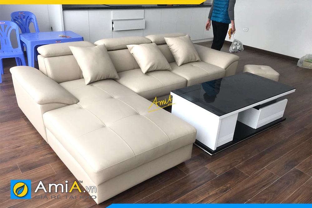 sofa da phong khach gia binh dan dep