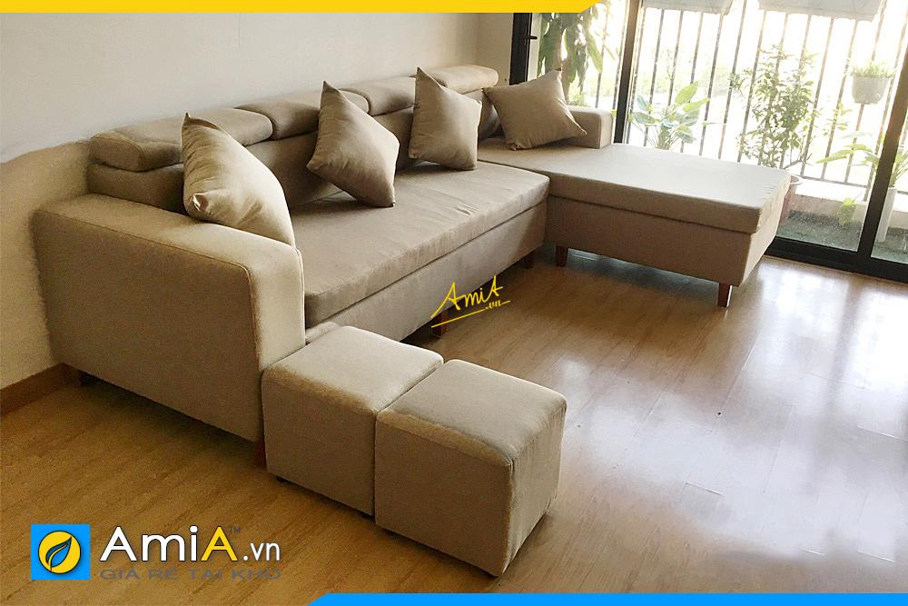 Ghế sofa bọc nỉ góc chữ L giá rẻ AmiA041
