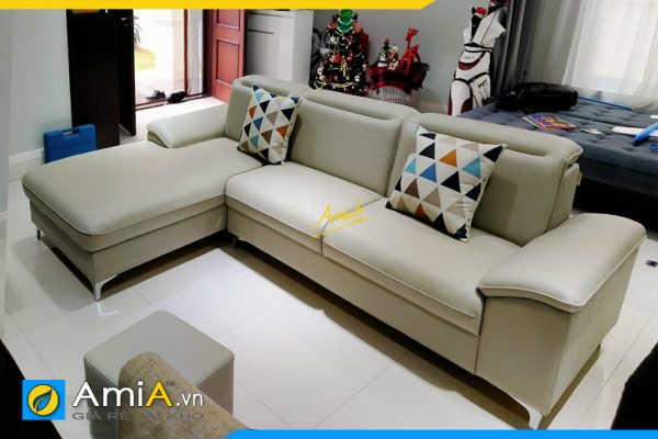 Mẫu ghế sofa góc chữ L bọc da AmiA348