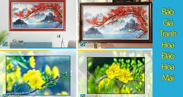 Hình ảnh Báo giá tranh hoa đào hoa mai treo Tết - 5 mức giá mới nhất