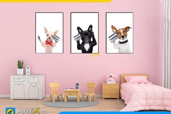 Hình ảnh Bộ tranh canvas 3 tấm chú chó ngộ nghĩnh treo phòng trẻ em AmiA 1537