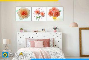 Hình ảnh Bộ tranh đồng hồ hoa hồng treo tường phòng ngủ đẹp xinh AmiA 1131
