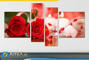 Hình ảnh Bộ tranh hoa hồng và nến treo phòng ngủ đẹp AmiA 201