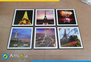 Hình ảnh Bộ tranh treo phòng ngủ tháp Eiffel ghép 6 tấm AmiA 706
