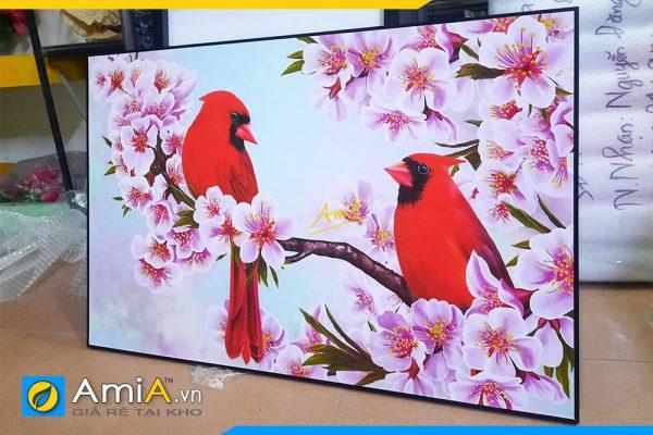 Hình ảnh Bức tranh phòng ngủ đôi chim uyên ương và hoa AmiA DCHIM111