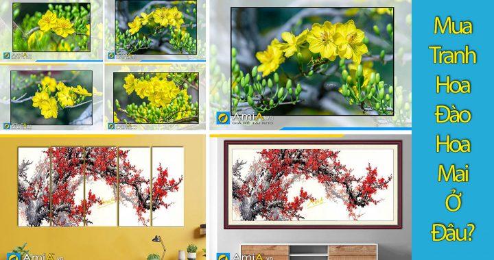 Hình ảnh Mua tranh hoa đào hoa mai chơi tết ở đâu đẹp uy tín tại Hà Nội?