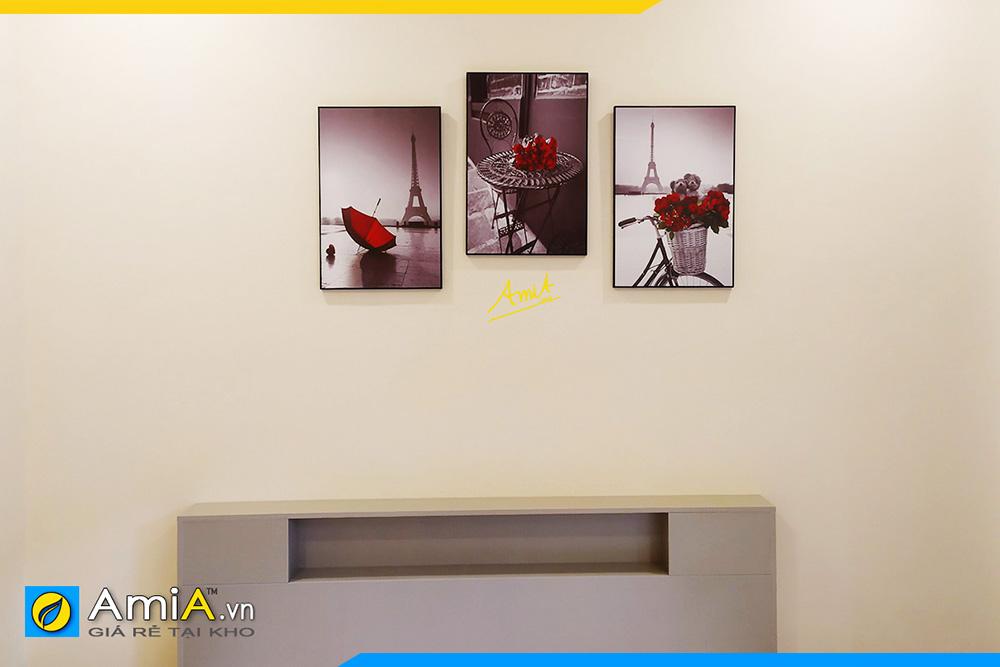Hình ảnh Tranh bộ 3 tấm treo phòng ngủ chủ đề nước ngoài AmiA 1684