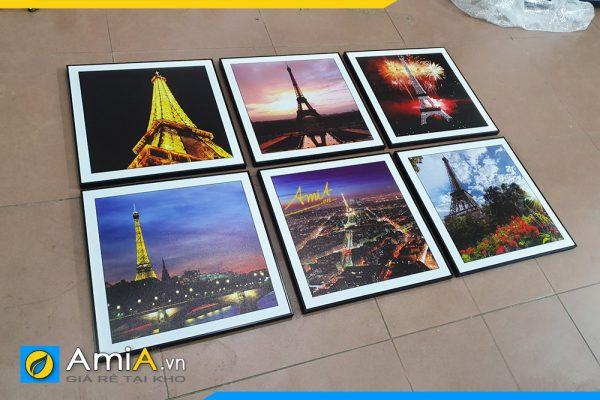Hình ảnh Tranh bộ tháp Eiffel trang trí tường phòng ngủ 6 tấm đẹp AmiA 760