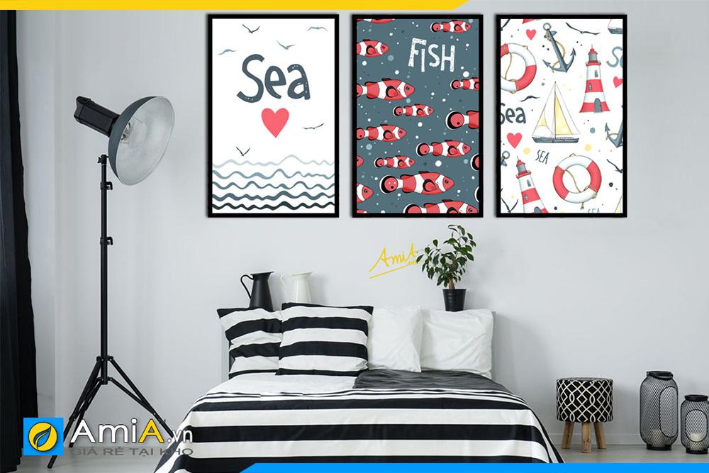Hình ảnh Tranh cá và biển in canvas trang trí phòng ngủ trẻ em AmiA 1491