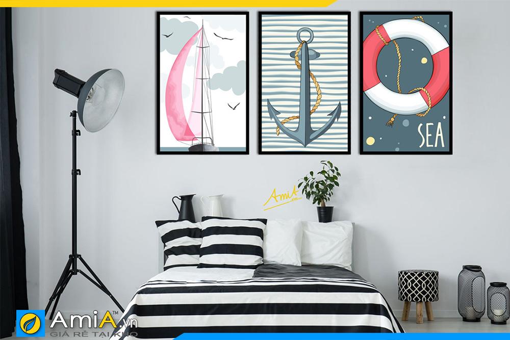Hình ảnh Tranh canvas 3 tấm treo phòng ngủ chủ đề biển cả AmiA 1492