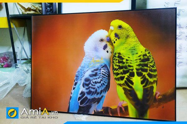 Hình ảnh Tranh canvas đôi chim treo tường phòng ngủ đẹp lãng mạn AmiA DCHIM110