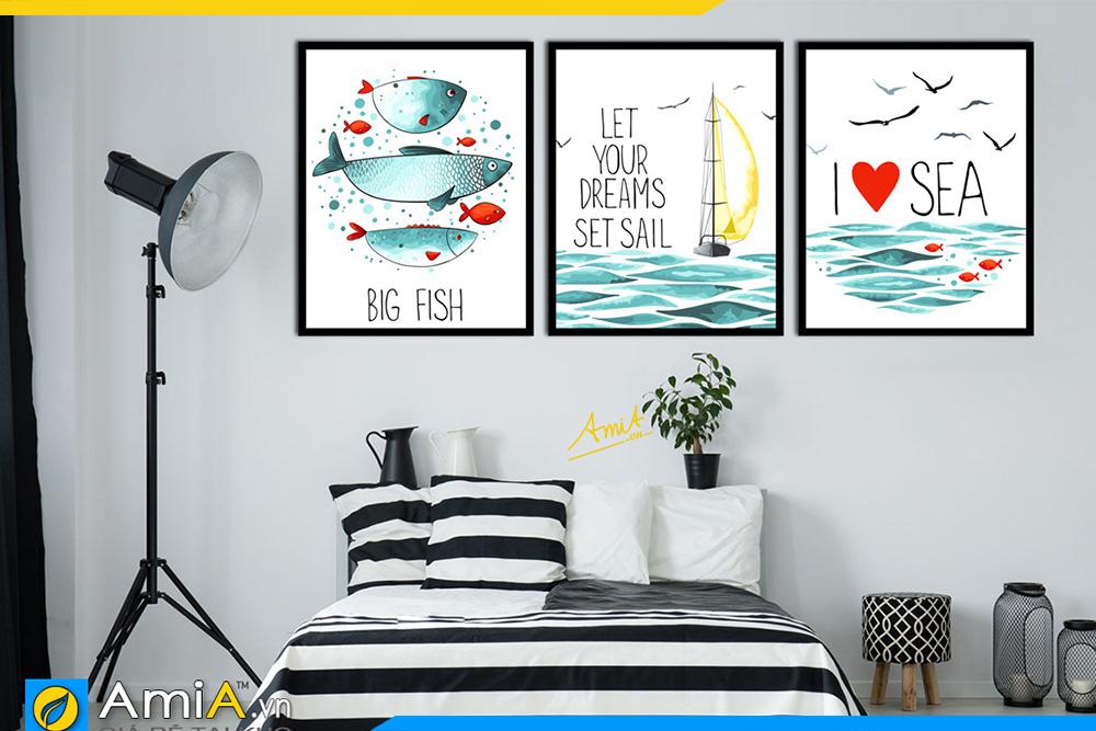 Hình ảnh Tranh canvas treo phòng ngủ chủ đề cá và biển cả AmiA 1487