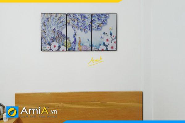 Hình ảnh Tranh chim công treo đầu giường phòng ngủ ý nghĩa AmiA Cong111