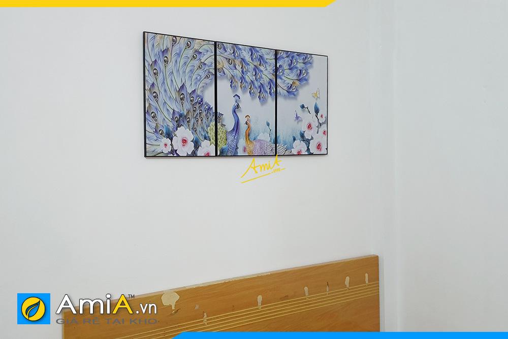 Hình ảnh Tranh con công ghép 3 tấm trang trí phòng ngủ AmiA Cong111