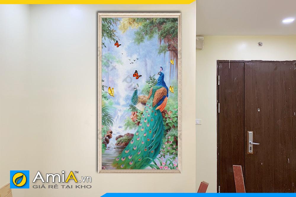 Hình ảnh Tranh con công khổ dọc treo tường phòng ngủ đẹp AmiA CC02