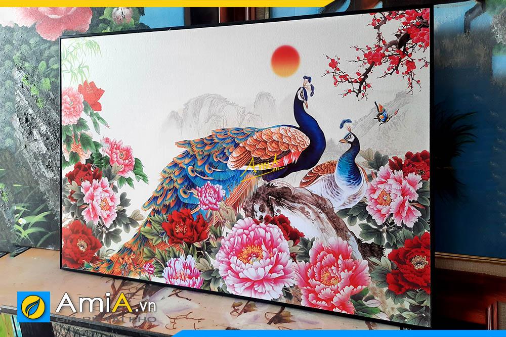 Hình ảnh Tranh đôi chim công hoa mẫu đơn trang trí phòng ngủ AmiA OP16209557