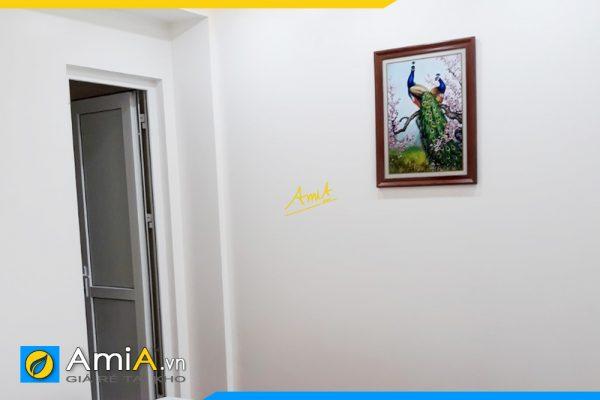 Hình ảnh Tranh đôi chim công khổ dọc treo phòng ngủ đẹp AmiA 2080