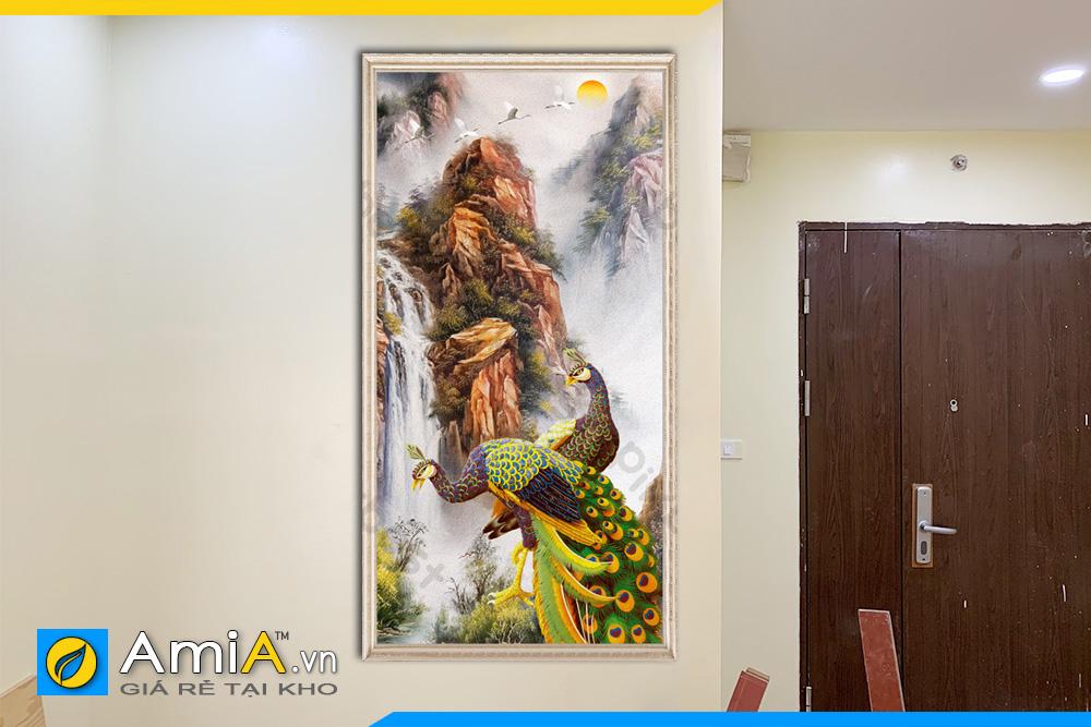 Hình ảnh Tranh đôi chim công khổ dọc treo tường phòng ngủ ý nghĩa AmiA CC09