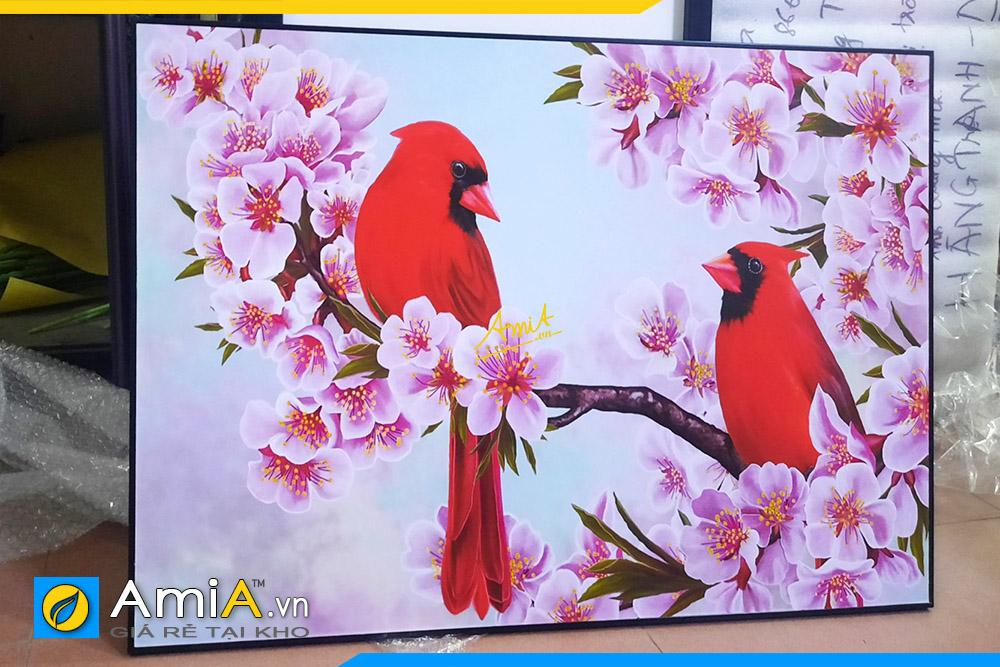 Hình ảnh Tranh đôi chim đỏ trên cành đào treo phòng ngủ AmiA DCHIM111