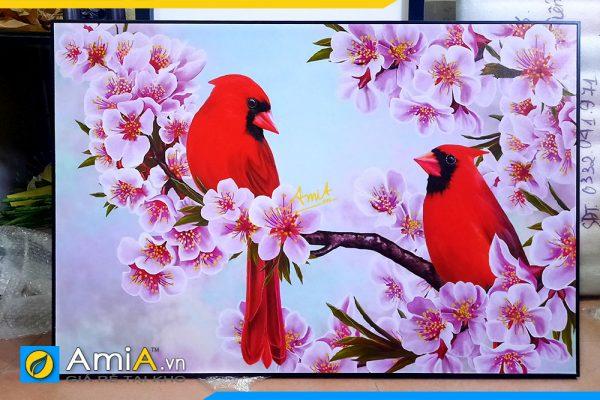 Hình ảnh Tranh đôi chim trên cành đào treo tường phòng ngủ lãng mạn AmiA DCHIM111