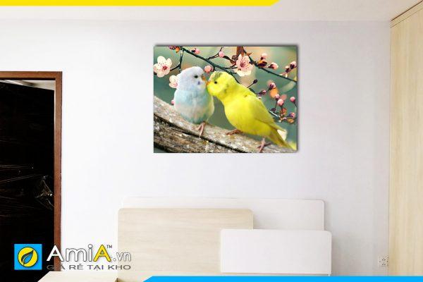 Hình ảnh Tranh đôi chim trên cành hoa treo đầu giường phòng ngủ AmiA 351