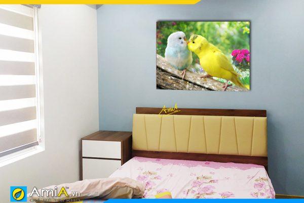 Hình ảnh Tranh đôi chim treo tường phòng ngủ đẹp lãng mạn AmiA 350