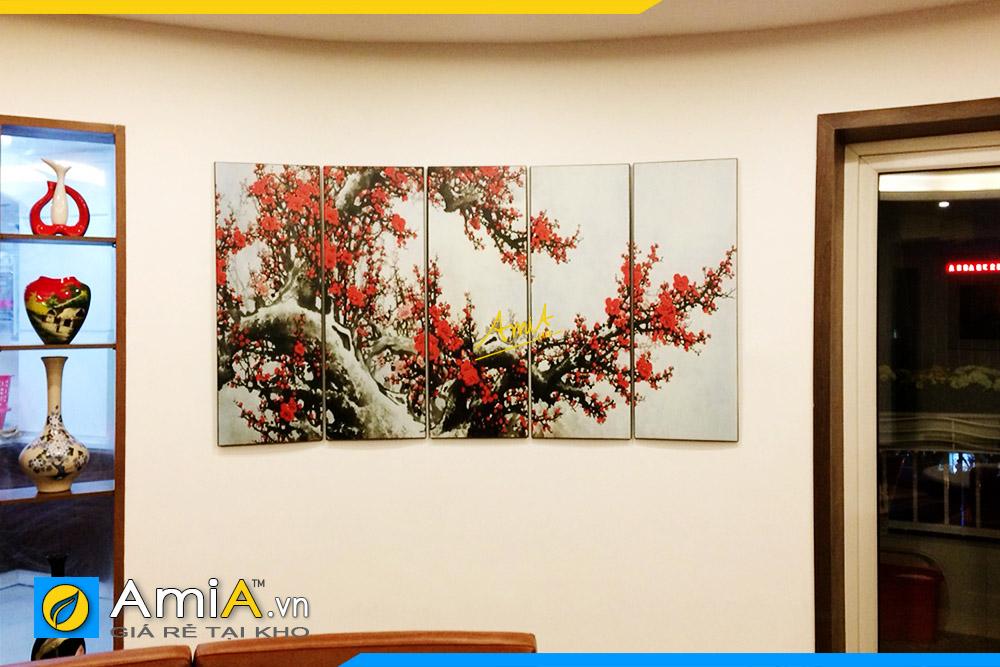 Hình ảnh Tranh hoa đào đón Tết mừng năm mới đẹp ý nghĩa