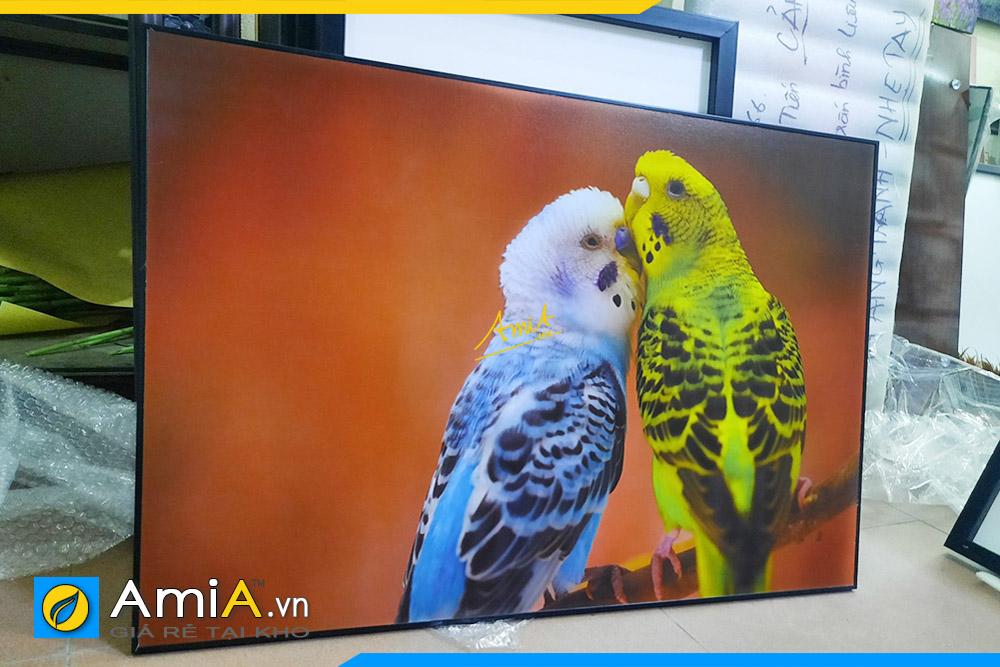 Hình ảnh Tranh phòng ngủ đôi chim uyên ương chụm đầu AmiA DCHIM110