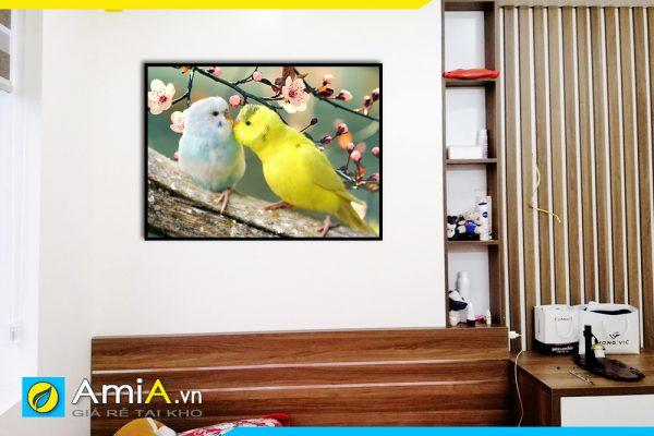 Hình ảnh Tranh phòng ngủ đôi chim uyên ương treo đầu giường AmiA 351
