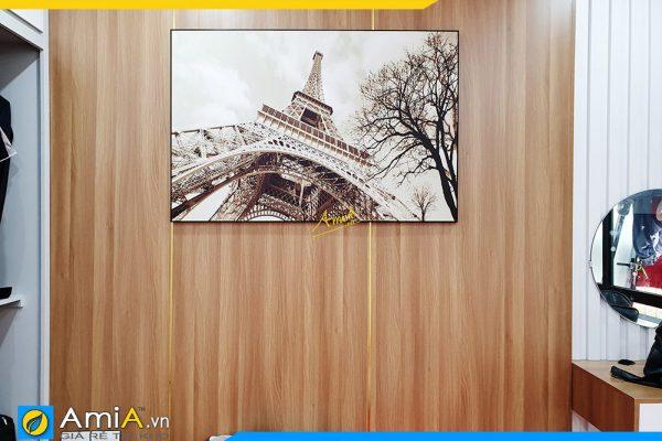 Hình ảnh Tranh tháp Eiffel treo phòng ngủ đẹp sang trọng AmiA 1030