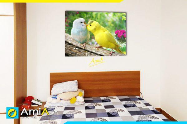 Hình ảnh Tranh treo tường phòng ngủ đôi chim chụm đầu đẹp AmiA 350