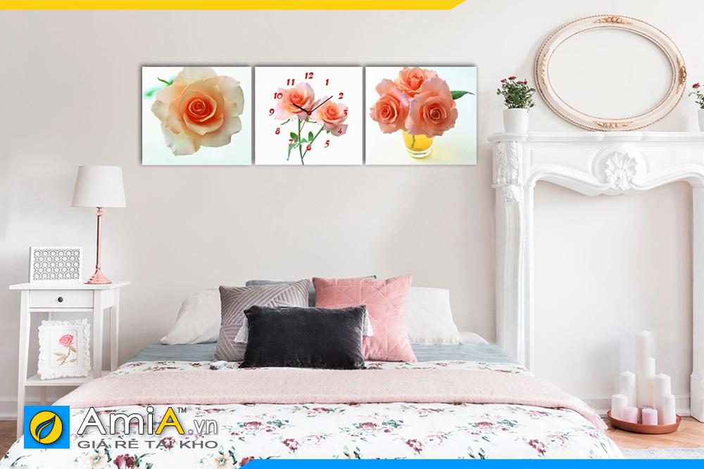 Hình ảnh Tranh treo tường phòng ngủ hoa hồng có đồng hồ AmiA 1131