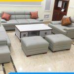 mẫu sofa da màu ghi xám cực đẹp hiện đại