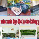 Ghế sofa da màu xanh nổi bật