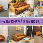 Ghế sofa da màu da bò đẹp hiện đại