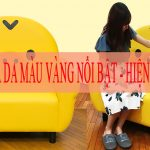 Ghế sofa da màu vàng nổi bật