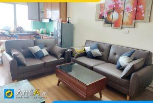 Ghế sofa da đẹp hiện đại AmiA305 theo bộ 2 ghế văng
