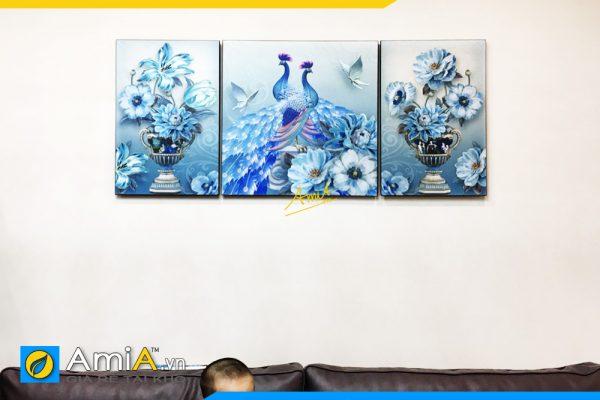 Hình ảnh Bộ tranh 3 tấm phu thê viên mãn treo phòng khách đẹp AmiA 1531