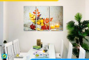 Hình ảnh Bộ tranh bình hoa tone màu vàng thu treo phòng ăn đẹp AmiA BH20