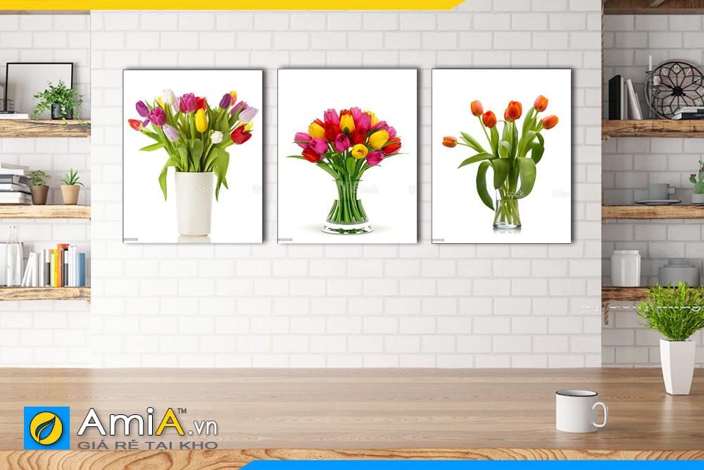 Hình ảnh Bộ tranh bình hoa tulip trang trí phòng ăn nhà bếp AmiA BH04