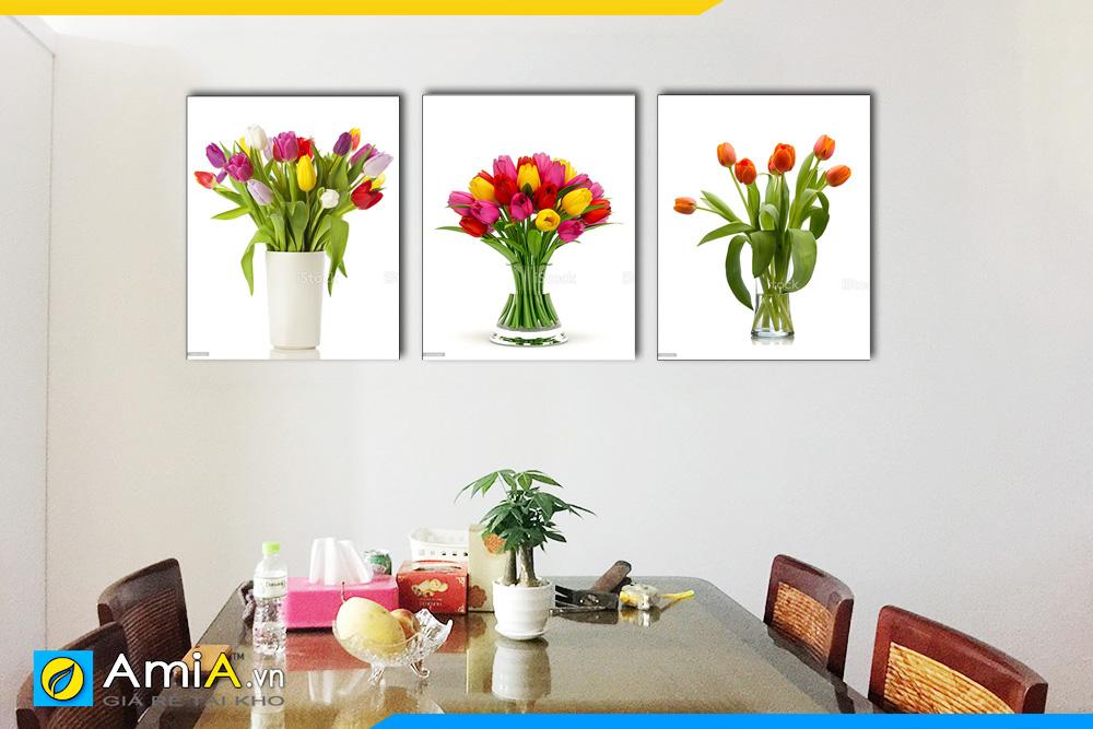Hình ảnh Bộ tranh bình hoa tulip treo tường bàn ăn phòng ăn đẹp AmiA BH04