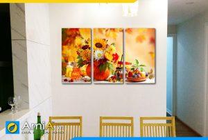Hình ảnh Bộ tranh bình hoa và đĩa quả trang trí tường bàn ăn đẹp AmiA BH21