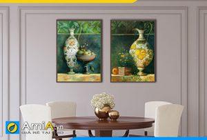 Hình ảnh Bộ tranh bình phong cách tân cổ điển trang trí bàn ăn đẹp AmiA BH19