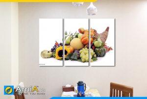 Hình ảnh Bộ tranh giỏ hoa quả thực phẩm treo phòng ăn nhà bếp đẹp AmiA PA42