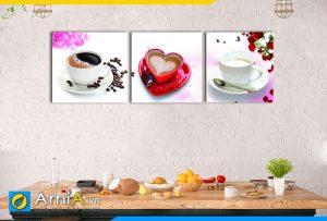 Hình ảnh Bộ tranh ly cafe đồ uống đẹp lãng mạn treo bàn ăn AmiA 496