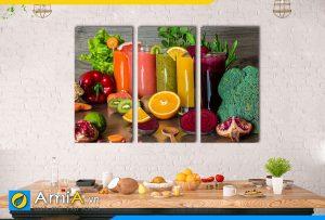 Hình ảnh Bộ tranh ly nước ép trái cây sinh tố thơm ngon treo bàn ăn AmiA DU21