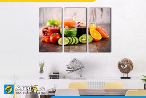 Hình ảnh Bộ tranh ly nước sinh tố và hoa quả treo tường bàn ăn hấp dẫn AmiA DU22